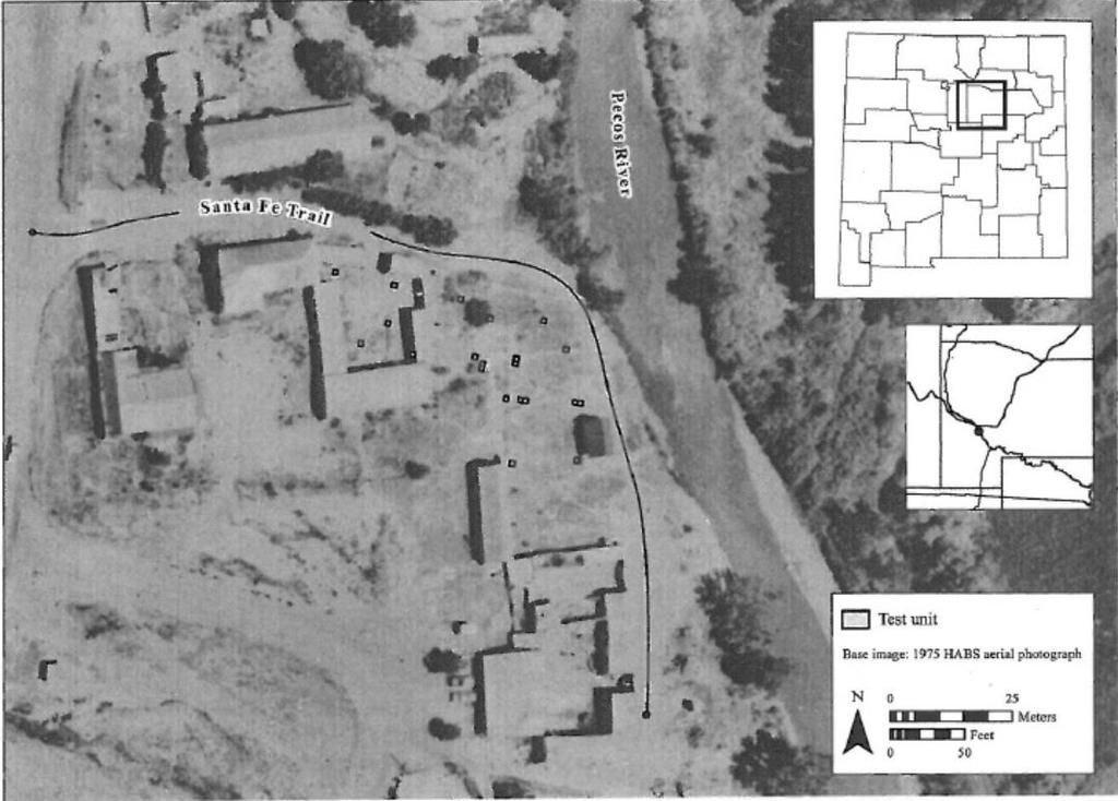 Aerial imagery from 1975 shows the Santa Fe Trail's proximity to San Miguel del Vado's historic plaza. [source](https://anthropology.nmsu.edu/anthropology-faculty/jenks/san-miguel-del-vado/)